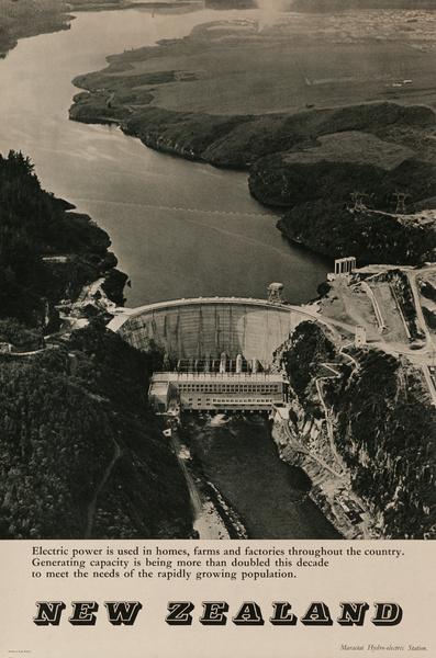 Maraetai Hydro-electric Station, Original New Zealand Travel Poster