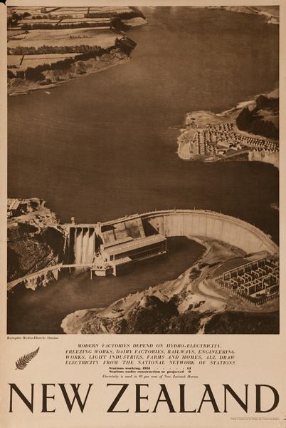 Karapiro Hydro-Electric Station, Original New Zealand Travel Poster