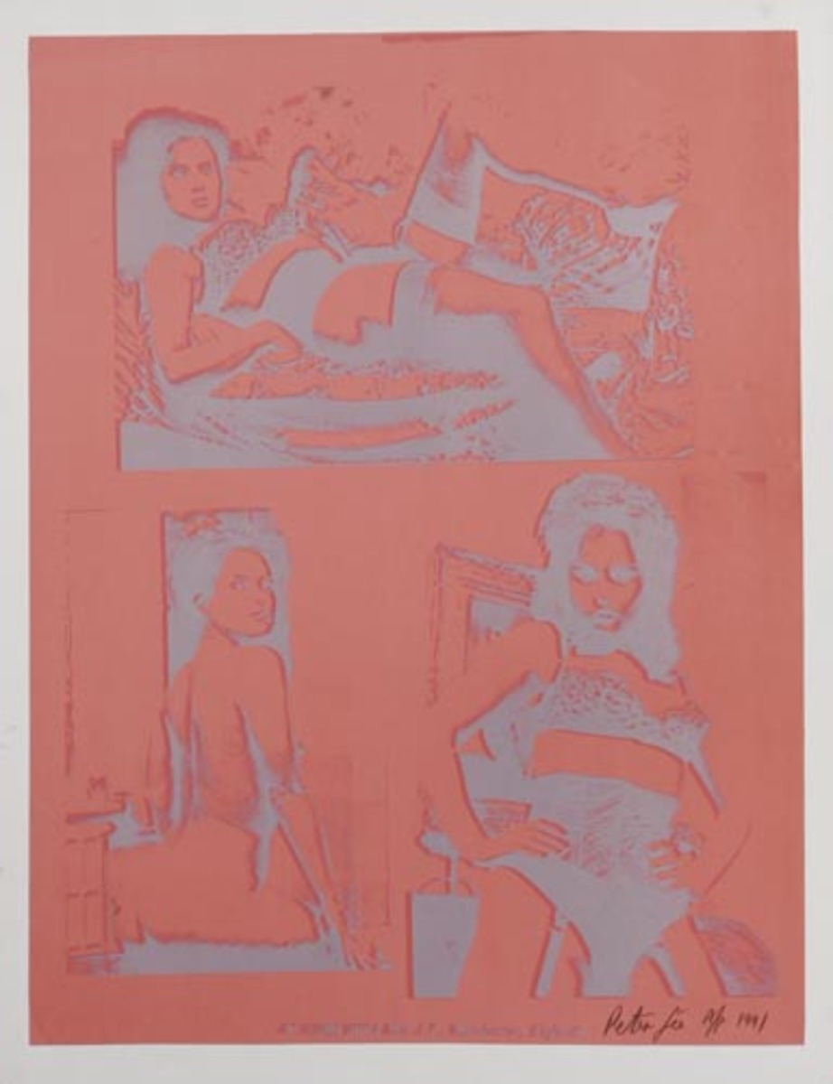 At Home With Mrs. J.T., Manchester, England Original HAND SIGNED A/P Peter Gee Silkscreen Print salmon silver