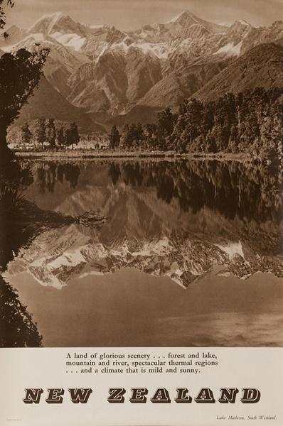 Lake Matheson, South Westland, Original New Zealand Travel Poster