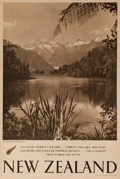 Lake Matheson, South Westland, A Land of Glorious Scenery, Original New Zealand Travel Poster