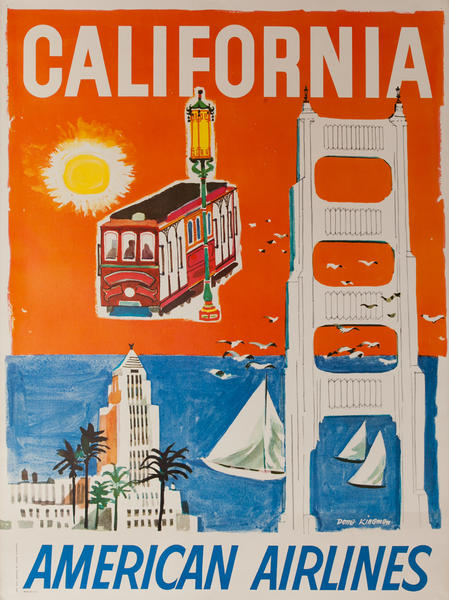 California American Airlines, Dong Kingman icons, Cable Car, Golden Gate Bridge
