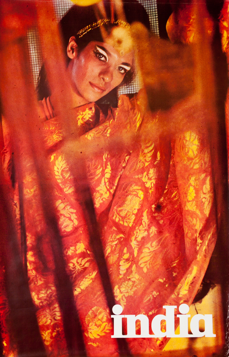 India Travel Poster woman in red sari