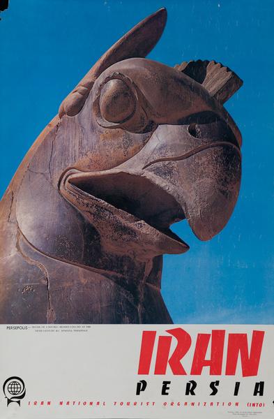 Iran Persia, Original Travel Poster Persepolis Double Headed Column