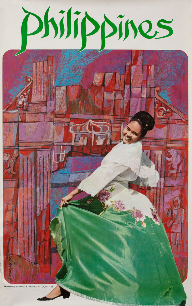 Philippines Travel Poster, Woman in green dress