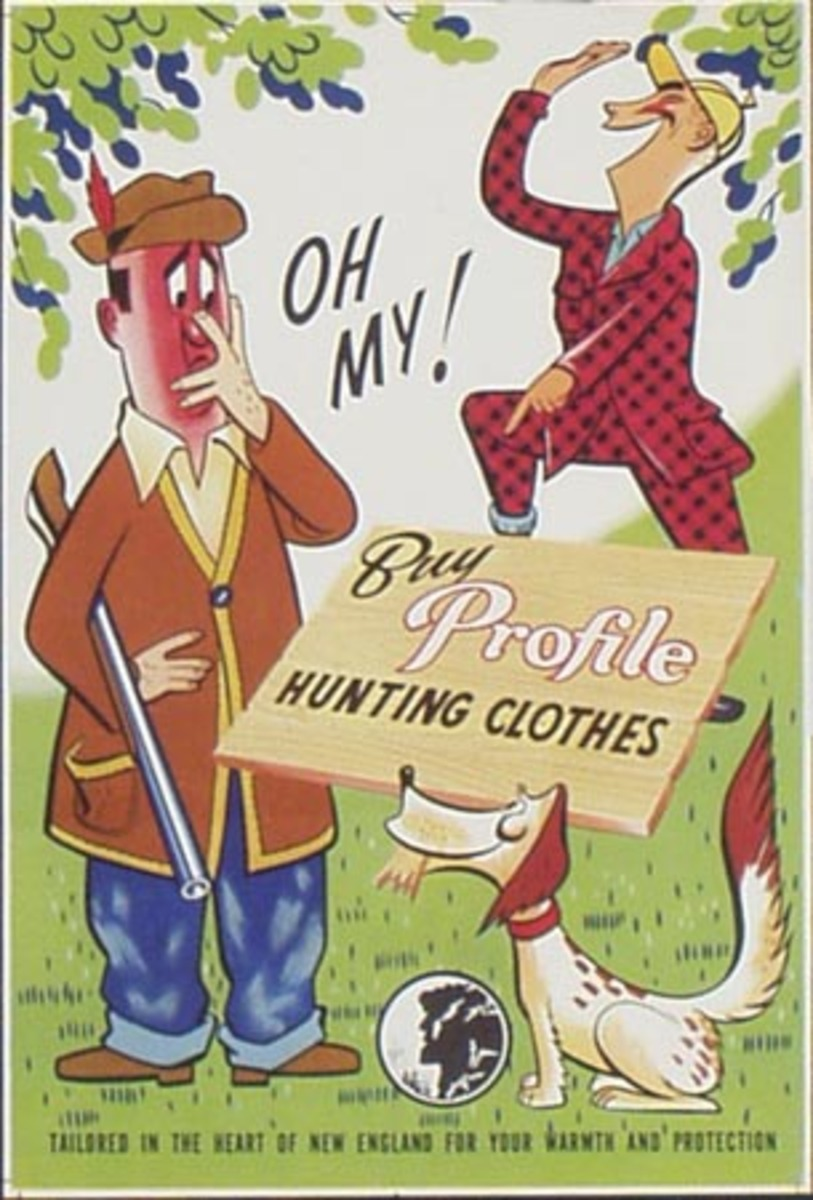 Profile Clothes Original Vintage Advertising Poster hunting clothes