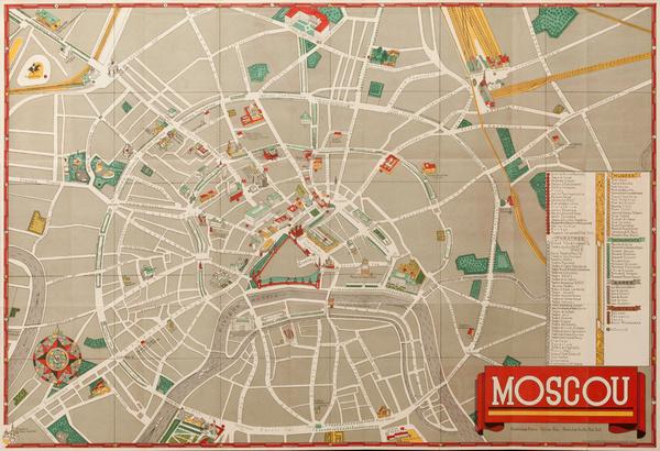 Original Intourist Moscow Sovenier Poster MAp
