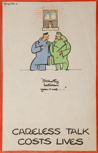 Careless Talk Costs Lives, Strictly between you and me.... Original British WWII Careless Talk Poster