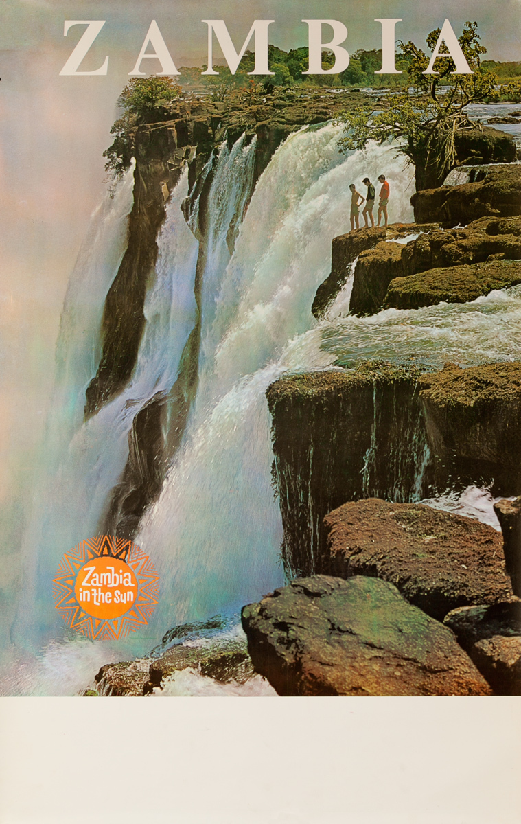 Zambia In the Sun, African Travel Poster Victoria Falls, 3 boys