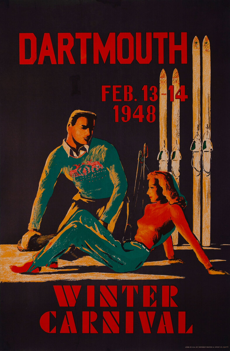 Dartmouth, Feb. 13-14, 1948 Winter Carnival, Original Ski Poster