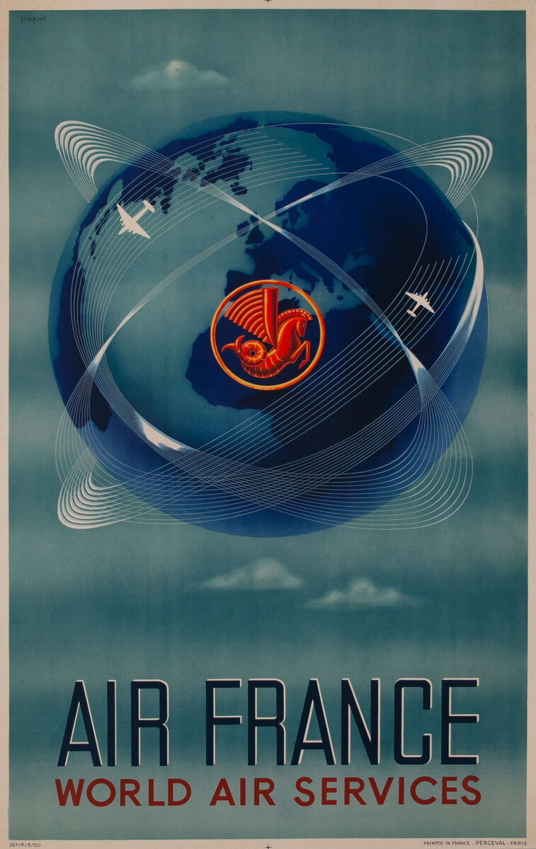 Air France World Air Service Original French Travel Poster