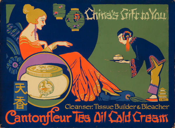 Cantonfleur Tea Oil Cold Cream Original American Adveritising Poster
