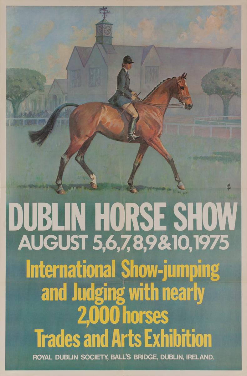 Dublin Horse Show, Original Irish Travel Poster, 1975