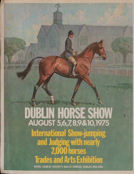 Dublin Horse Show, Original Irish Travel Poster, 1975 card