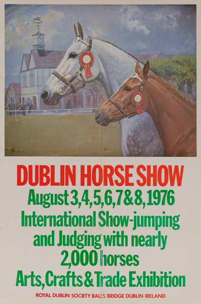 Dublin Horse Show, Original Irish Travel Poster, 1976