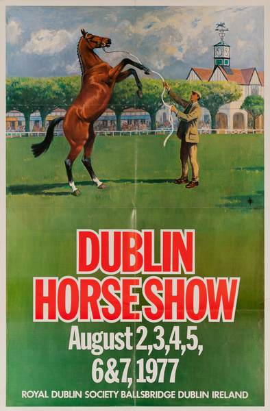 Dublin Horse Show, Original Irish Travel Poster, 1977