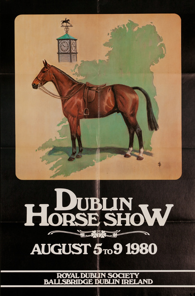 Dublin Horse Show, Original Irish Travel Poster, 1980
