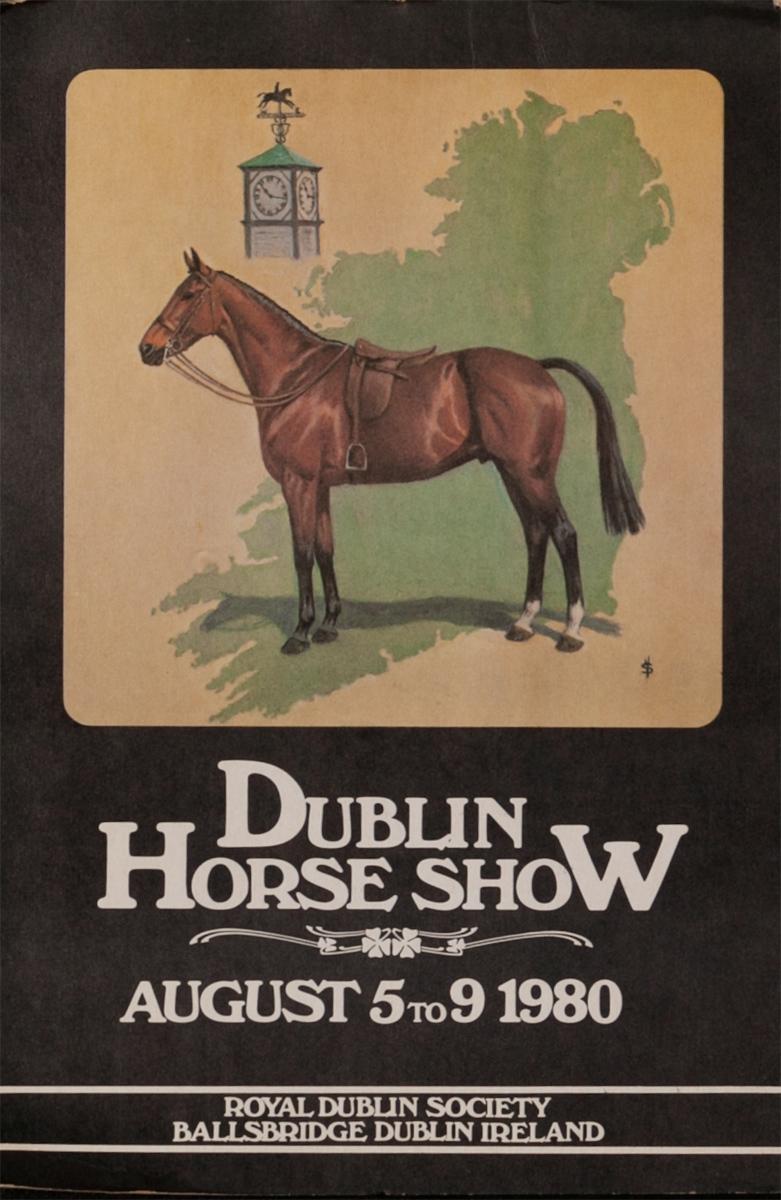 Dublin Horse Show, Original Irish Travel Poster, 1980 card