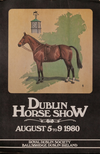 Dublin Horse Show, Original Irish Travel Poster, 1980 card