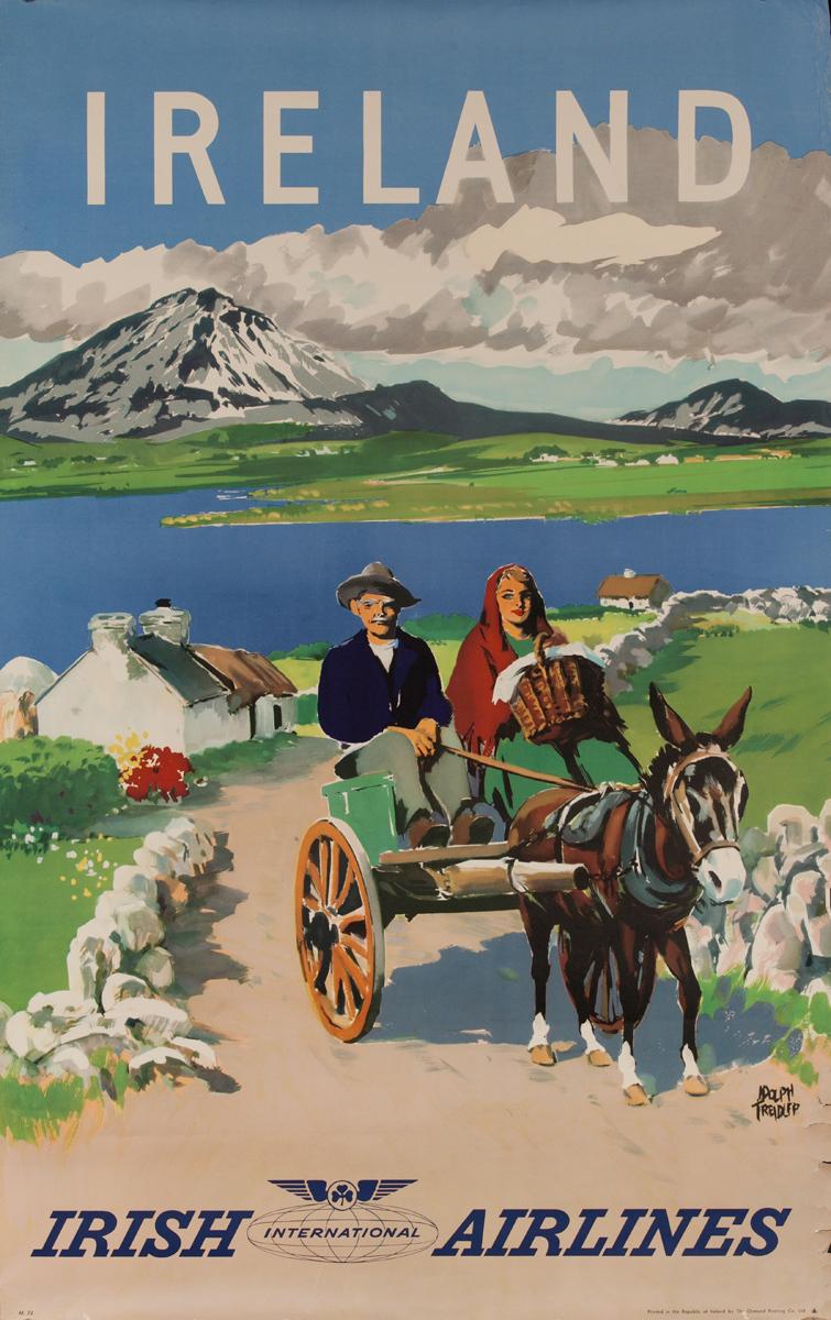 Irish Airlines Ireland Travel Poster, donkey cart
