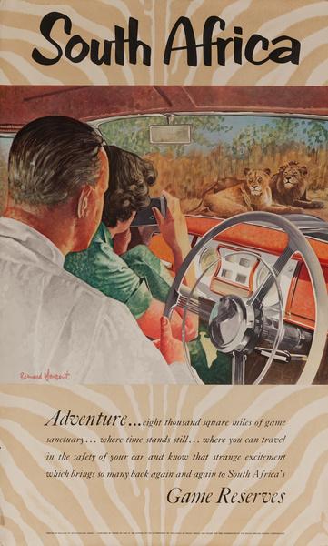 South Africa, Adventure Game Reserves, Original Travel Poster, Lion