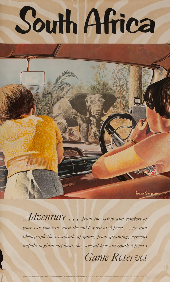 South Africa, Adventure Game Reserves, Original Travel Poster, Elephant