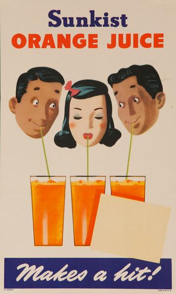 Sunkist Orange Juice Makes a Hit Original Advertising Poster