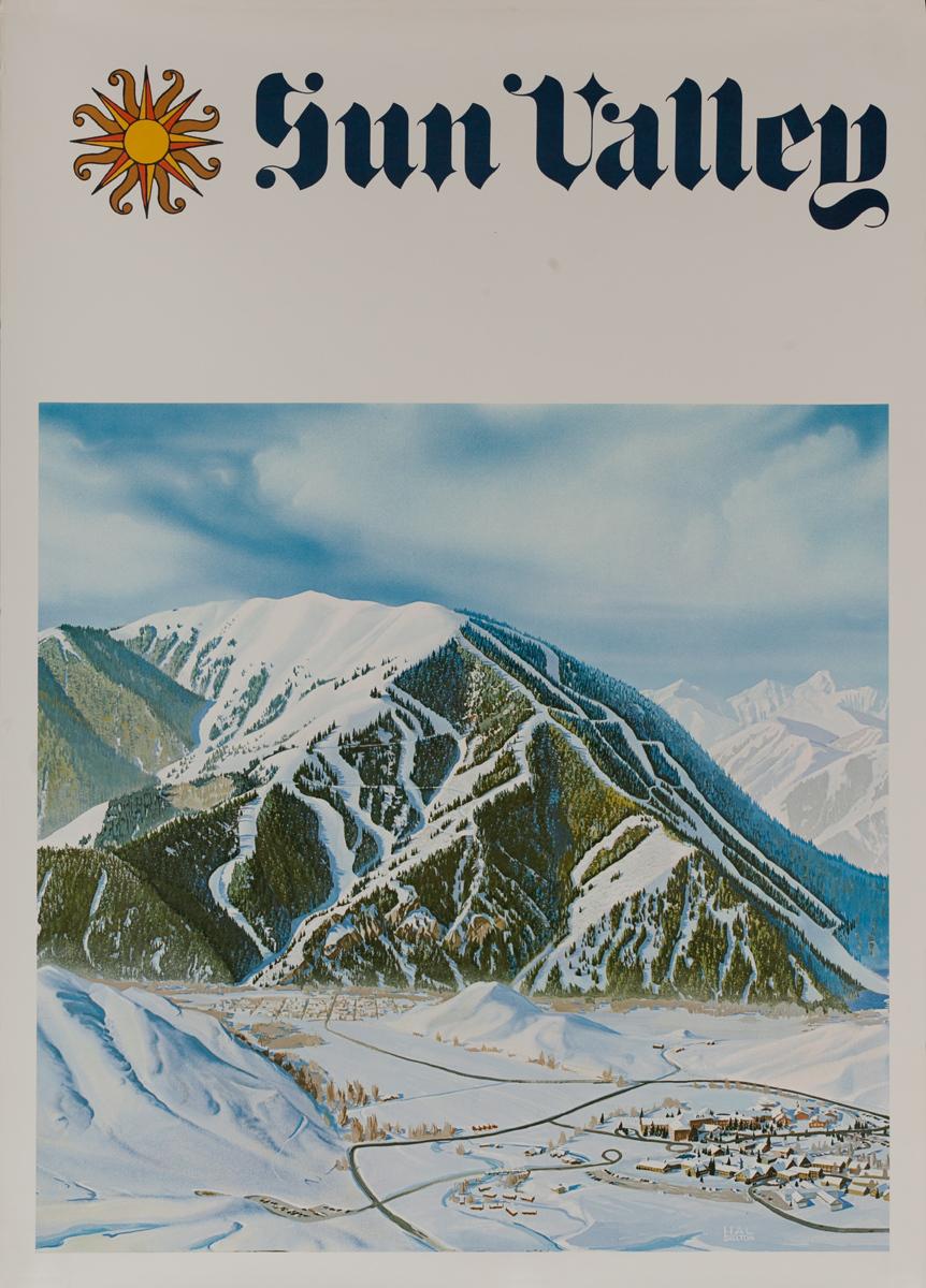 Sun Valley, Original American Travel Poster Ski Trail Map