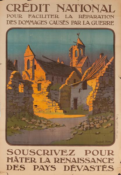 Credit National Souscrivez Pour Hater La Renaissance Des Pays Devastes, French WWI Bond Poster