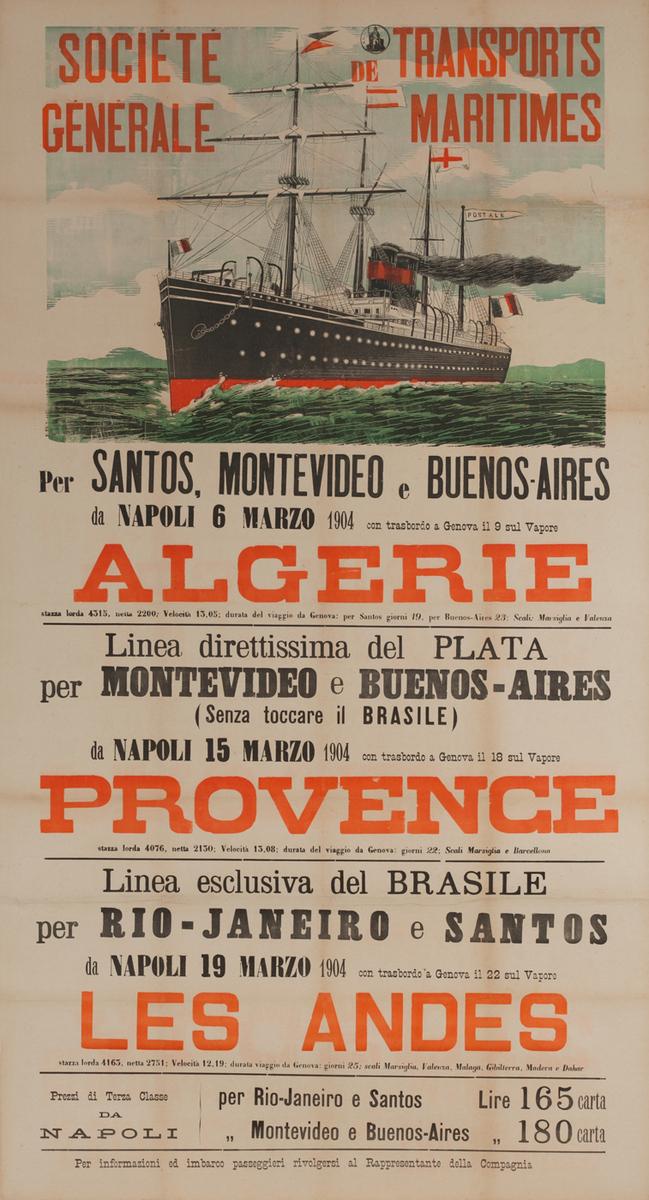 Societe Generale de Transports Maritimes, Original Italian Immigrent Ship Poster, Algerie Provence Les Andes
