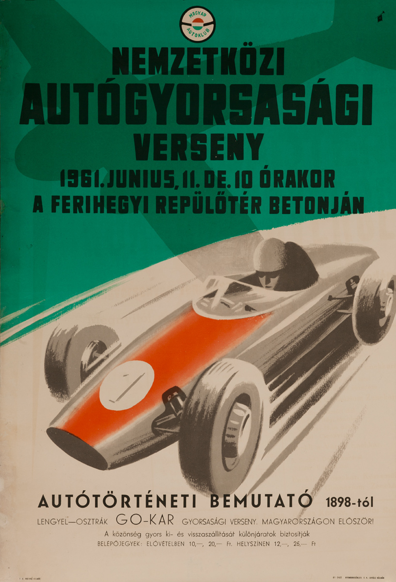 International Driving Agility Competition, Original Hungarian Auto Racing Poster