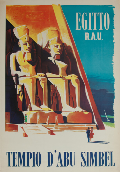Egypt, U.A.R., Abu Simbel Temples, Original Travel Poster