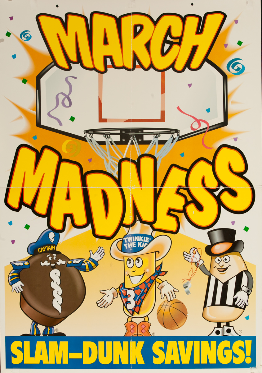 Hostess Cupcakes and Twinkies March Madness Advertising Poster Slam Dunk Savings