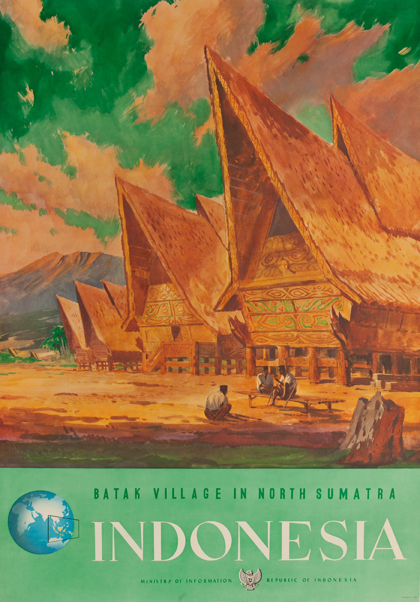 Batak Village in North Sumatra Indonesia Original Travel Poster