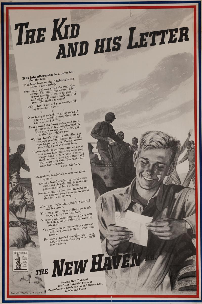 The Kid and His Letter, Original New Haven Railroad WWII Propaganda Poster