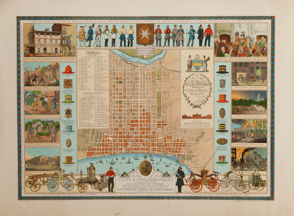 A Map of the City of Philadelphia, Showing the Location of The Volunteer Fire Companies, Original Souvenir Illustrated Map Poster