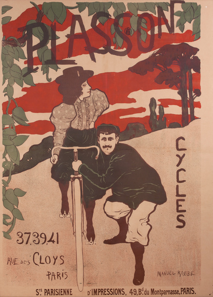 Plasson Cycles Original French Bicycle Advertising Poster