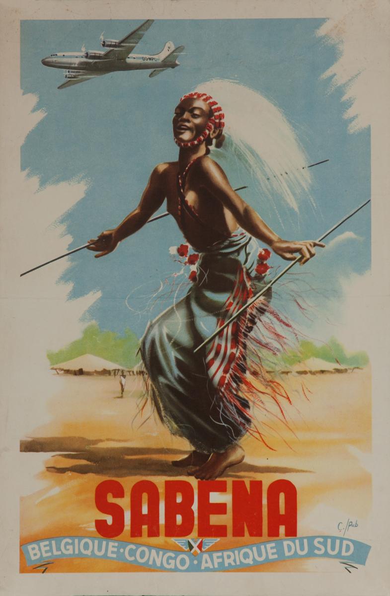 Sabena Belgique Congo - Afrique Du Sud, Original Airline Poster