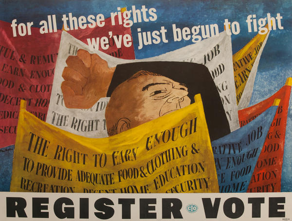 for all these rights we've just begun to fight, Register to Vote, Original CIO Political Poster