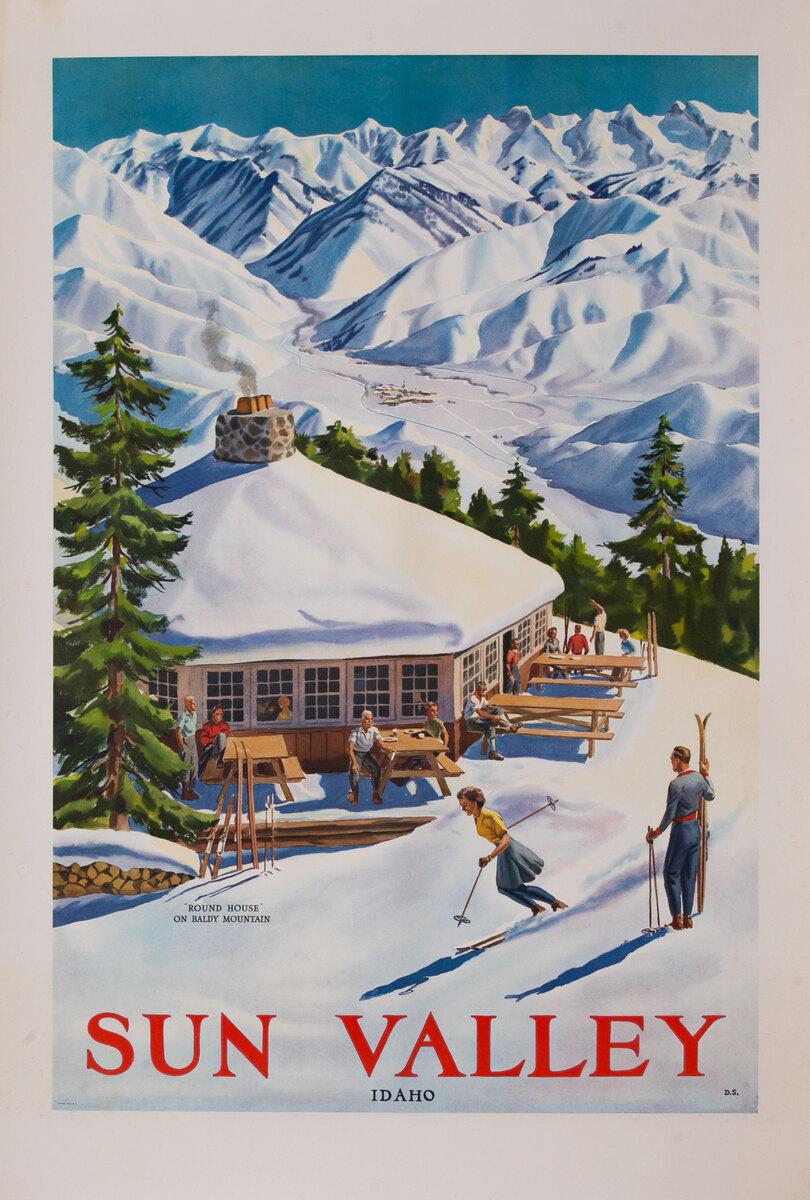 Sun Valley, Idaho, Round House on Baldy Mountain, Original American Travel Poster