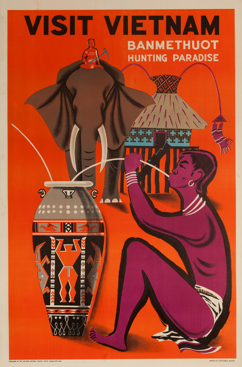 Visit Vietnam Banmethuot, Hunting Paradise, Original Travel Poster
