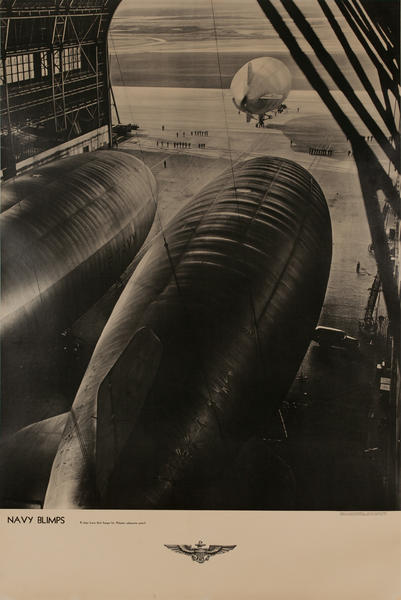 Navy Blimps K-Ships leave their hangers for Atlantic Submarine Patrol, Original American WWII Poster