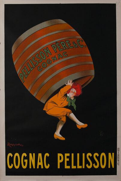 Cognac Pellisson Original Vintage Advertising Poster, small format