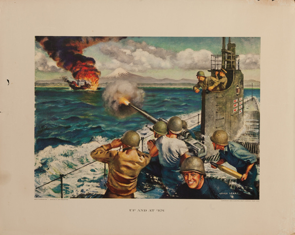Up and At 'Em, Original  Electric Boat Company, WWII Poster
