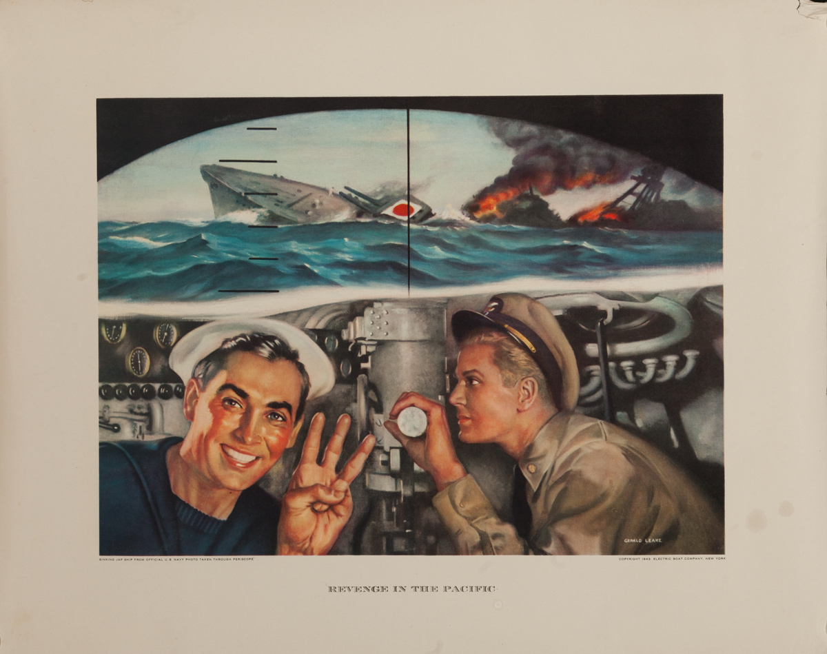 Revenge in the Pacific, Original Electric Boat Company, WWII Poster