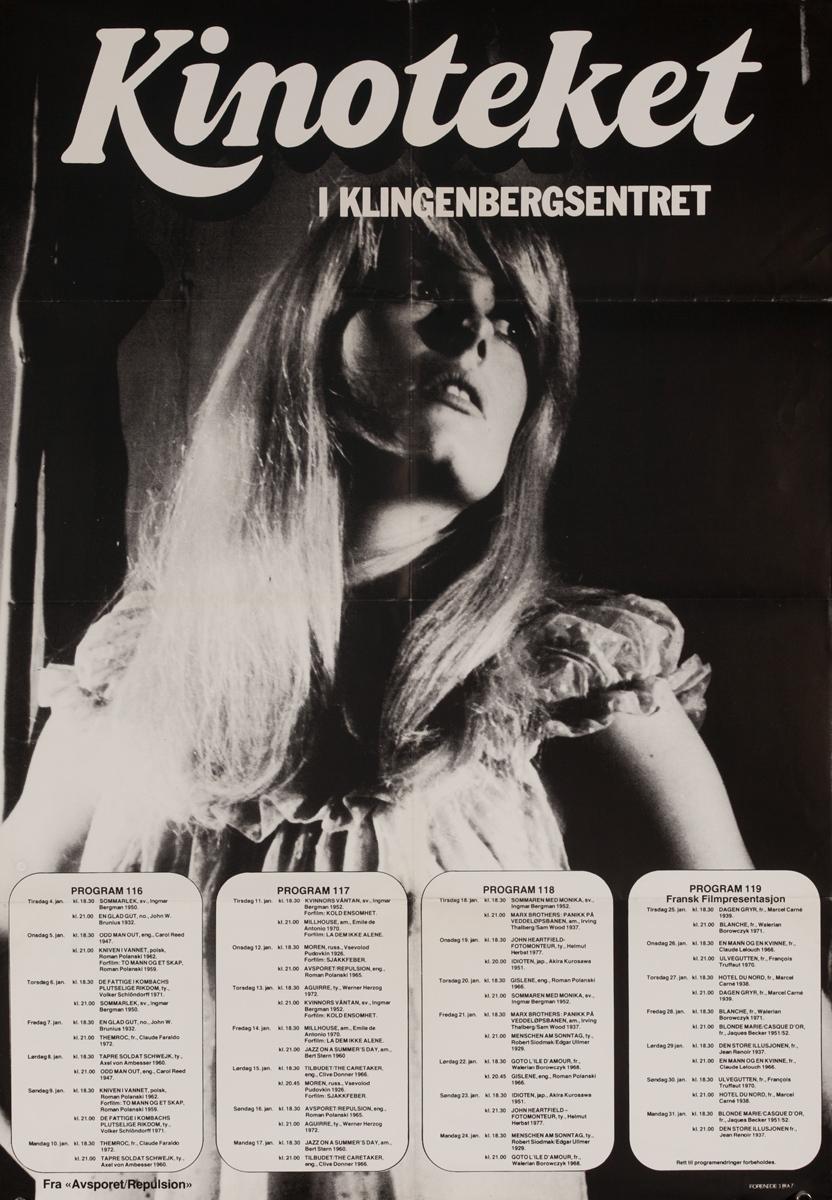 Kinoteket, Orignal Oslo Norway Film Theater Poster