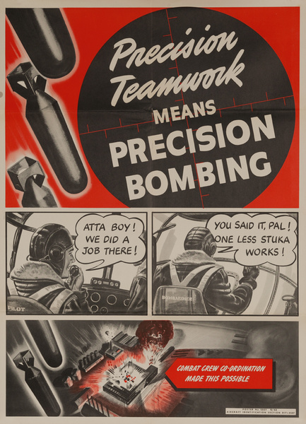 Precision Teamwork Means Precision Bombing, Original American Army Air Force WWII Poster