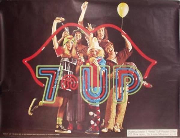 Original Vintage 7 Up Advertising Poster Neon Lips