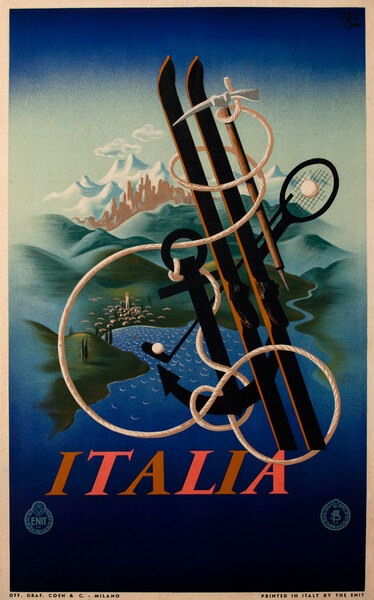 Italy The Ideal Land for All Sports, Original Italian Travel Ski Golf Poster