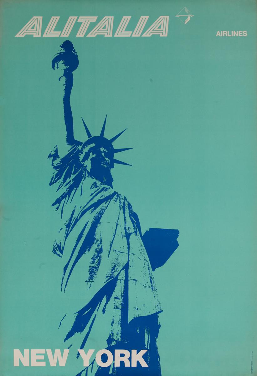 Alitalia New York, Original Travel Poster, Statue of Liberty